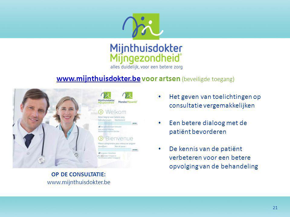 www.mijnthuisdokter.be voor artsen (beveiligde toegang)