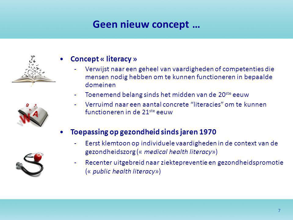 Geen nieuw concept … Concept « literacy »