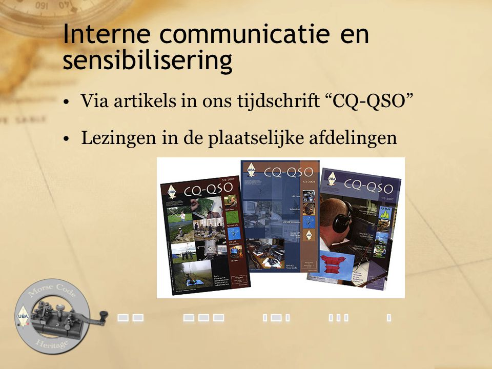 Interne communicatie en sensibilisering