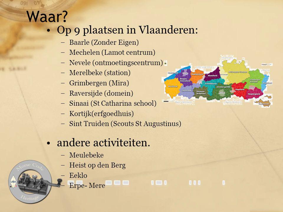 Waar Op 9 plaatsen in Vlaanderen: andere activiteiten.