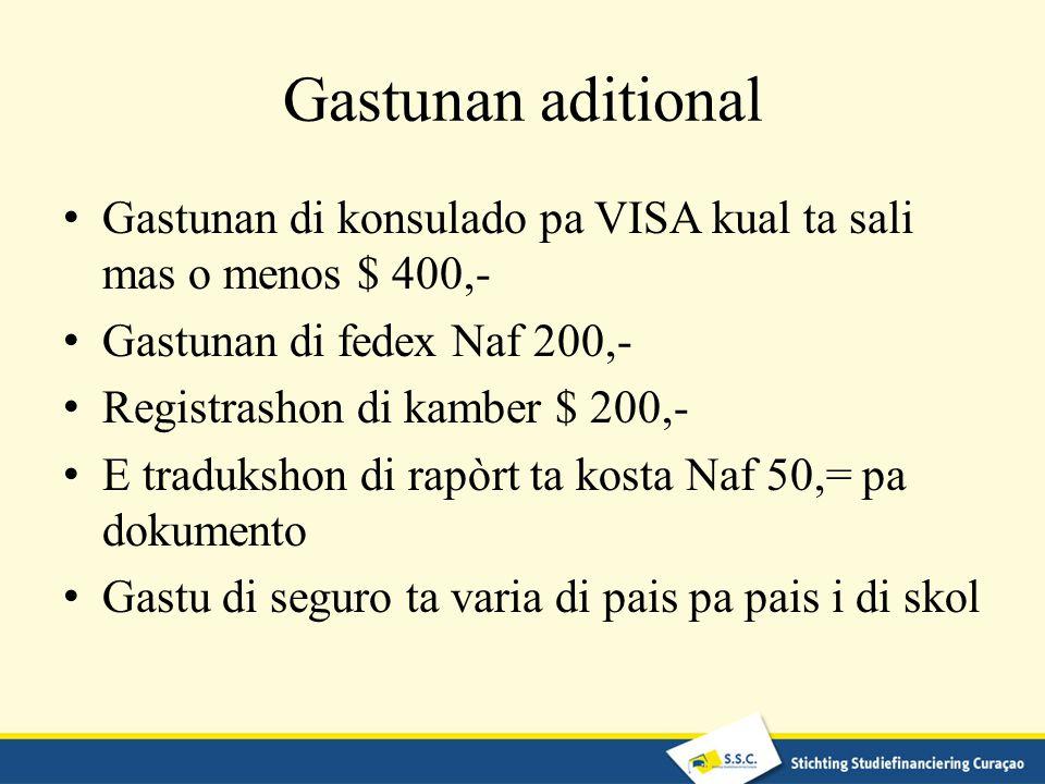Gastunan aditional Gastunan di konsulado pa VISA kual ta sali mas o menos $ 400,- Gastunan di fedex Naf 200,-