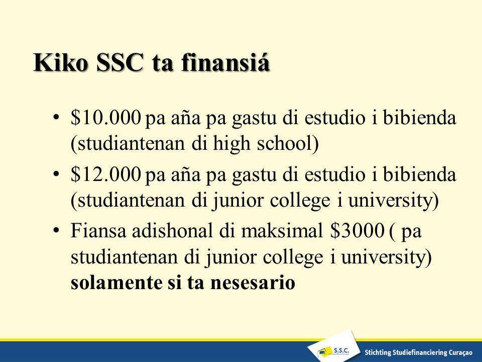 Kiko SSC ta finansiá $10.000 pa aña pa gastu di estudio i bibienda (studiantenan di high school)