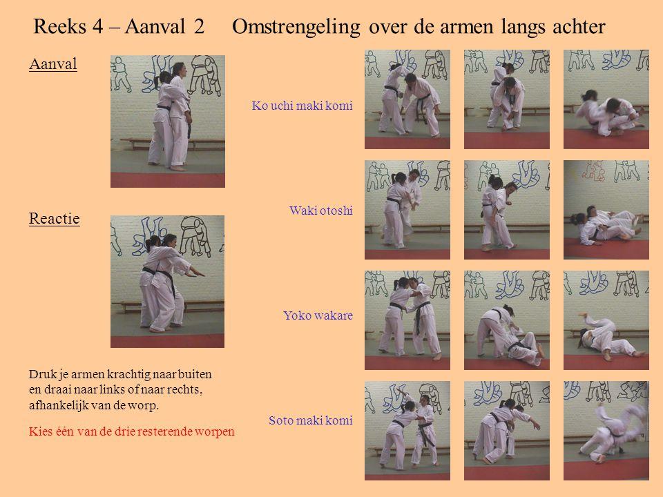 Reeks 4 – Aanval 2 Omstrengeling over de armen langs achter