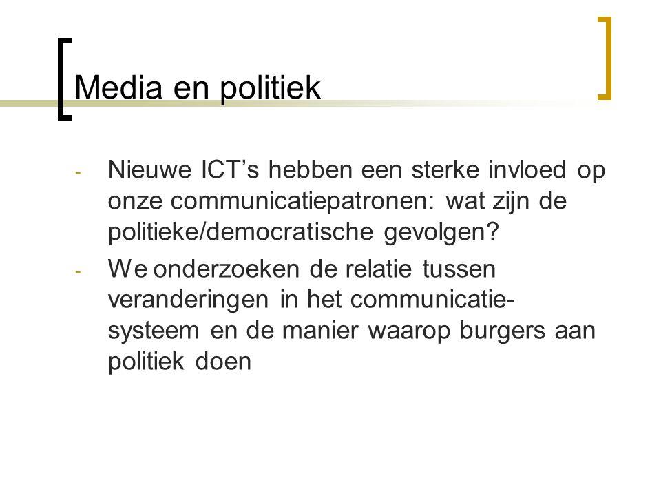Media en politiek Nieuwe ICT's hebben een sterke invloed op onze communicatiepatronen: wat zijn de politieke/democratische gevolgen