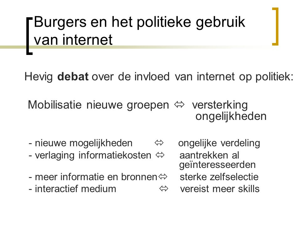 Burgers en het politieke gebruik van internet