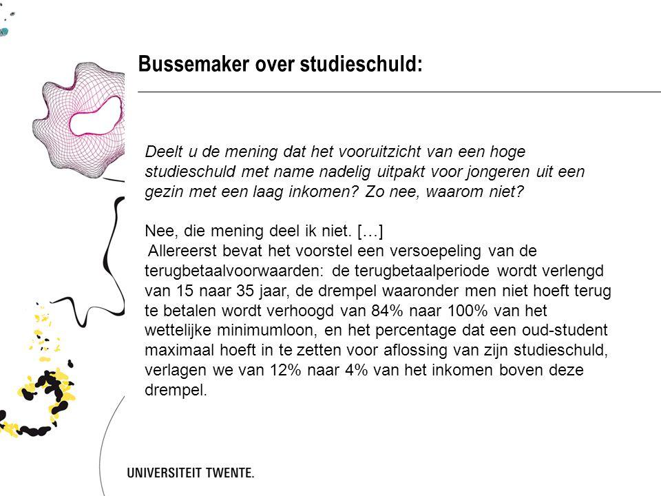 Bussemaker over studieschuld: