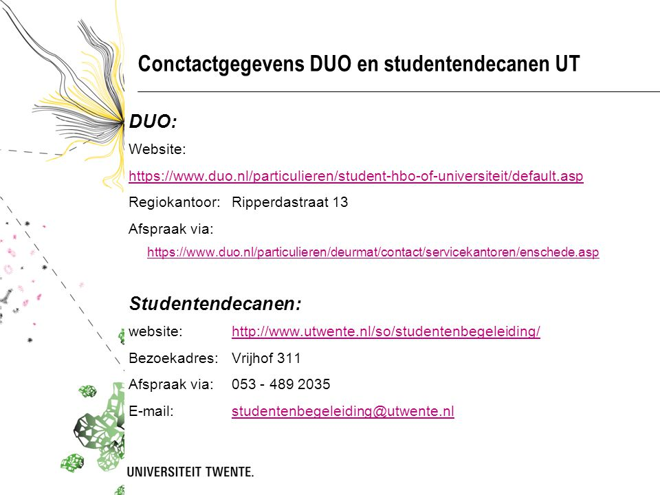Conctactgegevens DUO en studentendecanen UT