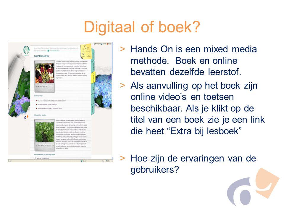 Digitaal of boek Hands On is een mixed media methode. Boek en online bevatten dezelfde leerstof.