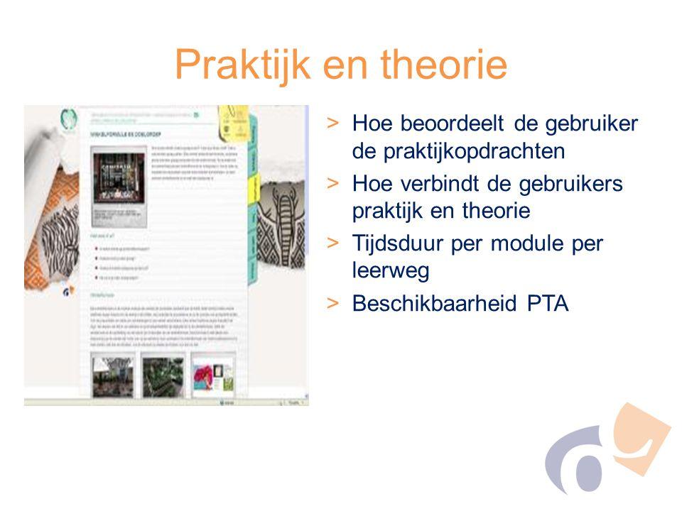 Praktijk en theorie Hoe beoordeelt de gebruiker de praktijkopdrachten