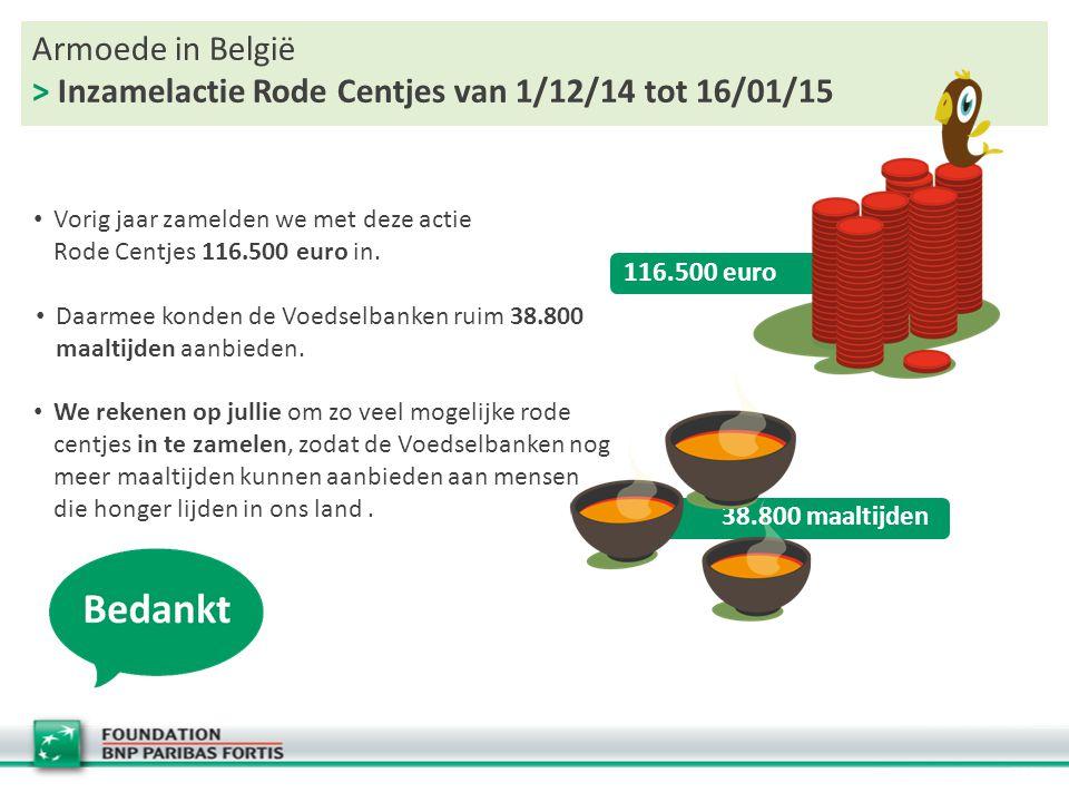Armoede in België > Inzamelactie Rode Centjes van 1/12/14 tot 16/01/15