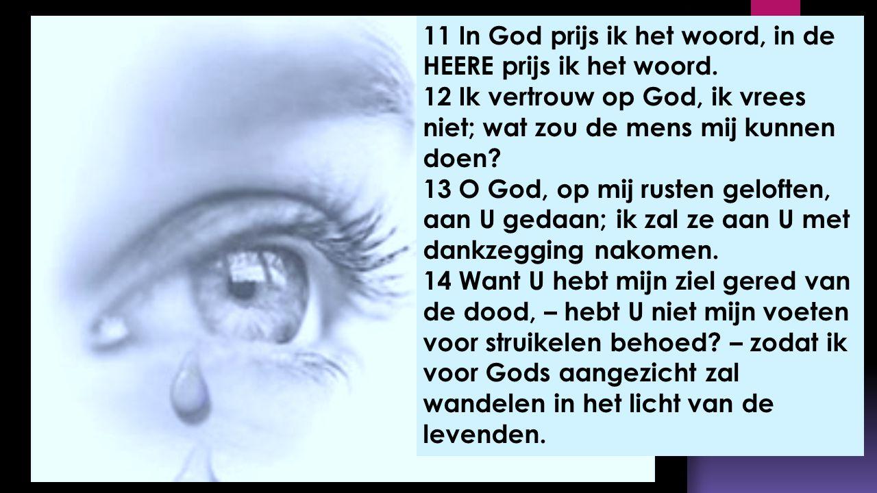 11 In God prijs ik het woord, in de HEERE prijs ik het woord.