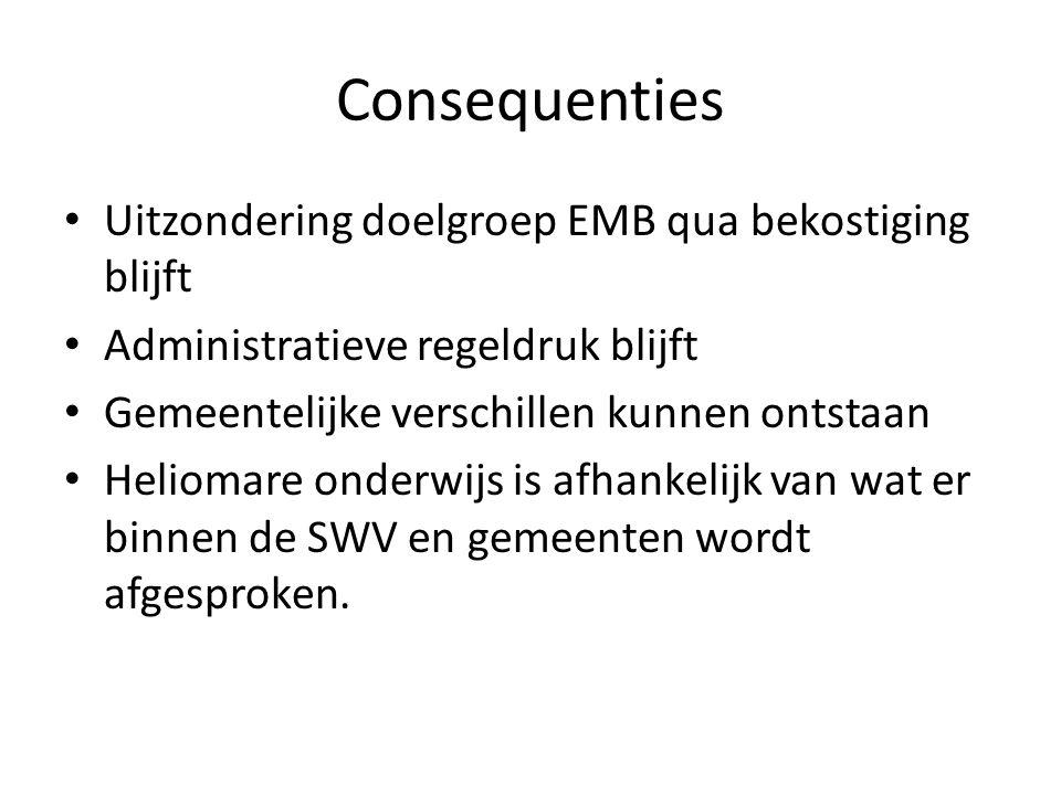 Consequenties Uitzondering doelgroep EMB qua bekostiging blijft