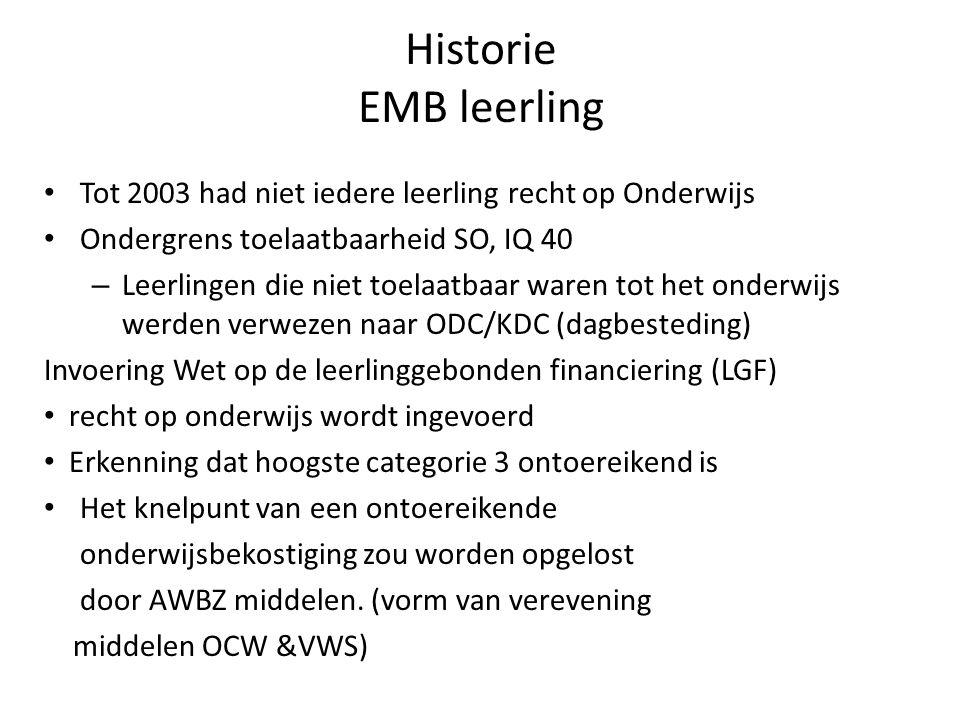 Historie EMB leerling Tot 2003 had niet iedere leerling recht op Onderwijs. Ondergrens toelaatbaarheid SO, IQ 40.
