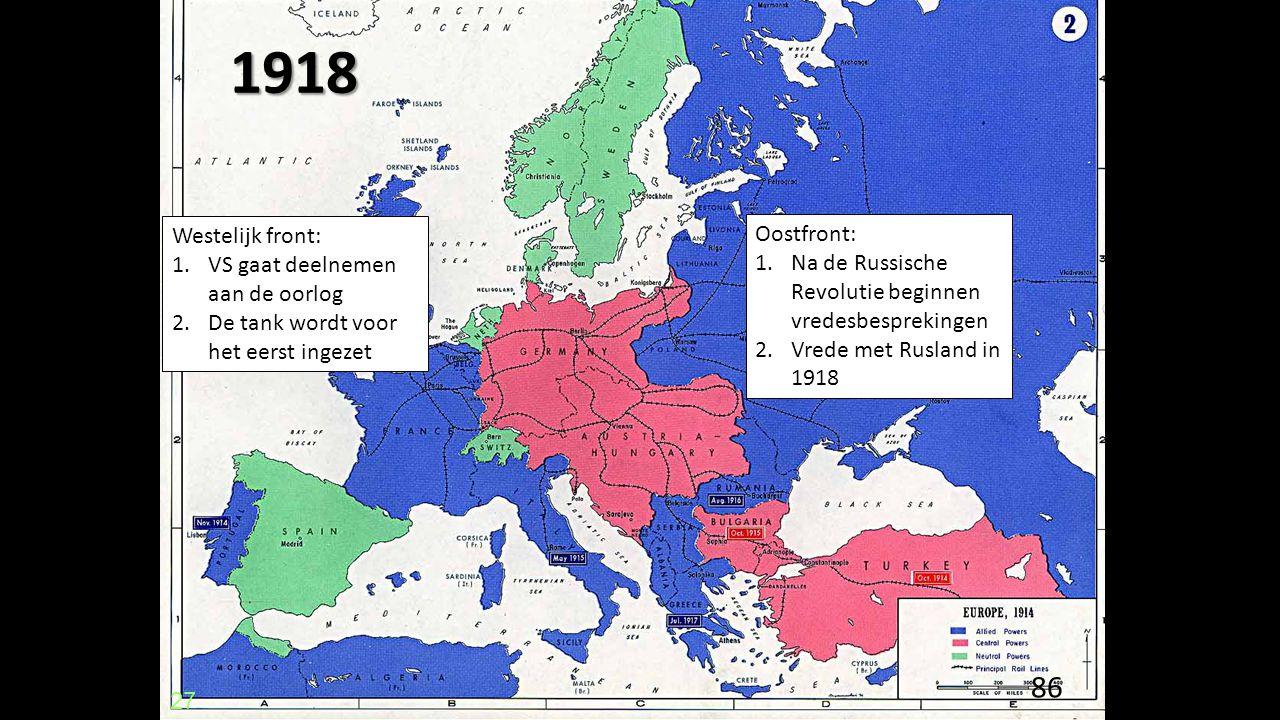 1918 Westelijk front: Oostfront: VS gaat deelnemen aan de oorlog