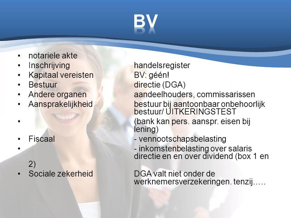 BV notariele akte Inschrijving handelsregister