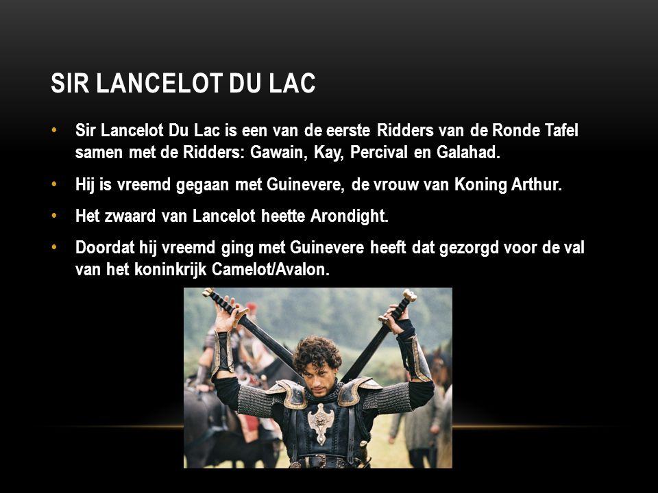 Sir Lancelot du lac Sir Lancelot Du Lac is een van de eerste Ridders van de Ronde Tafel samen met de Ridders: Gawain, Kay, Percival en Galahad.