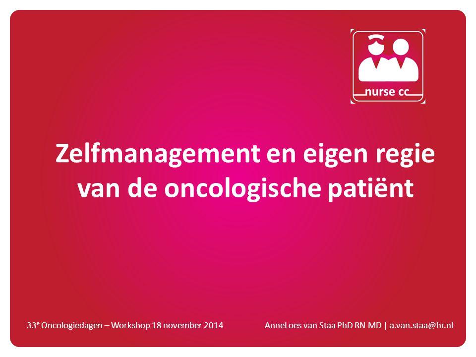 Zelfmanagement en eigen regie van de oncologische patiënt
