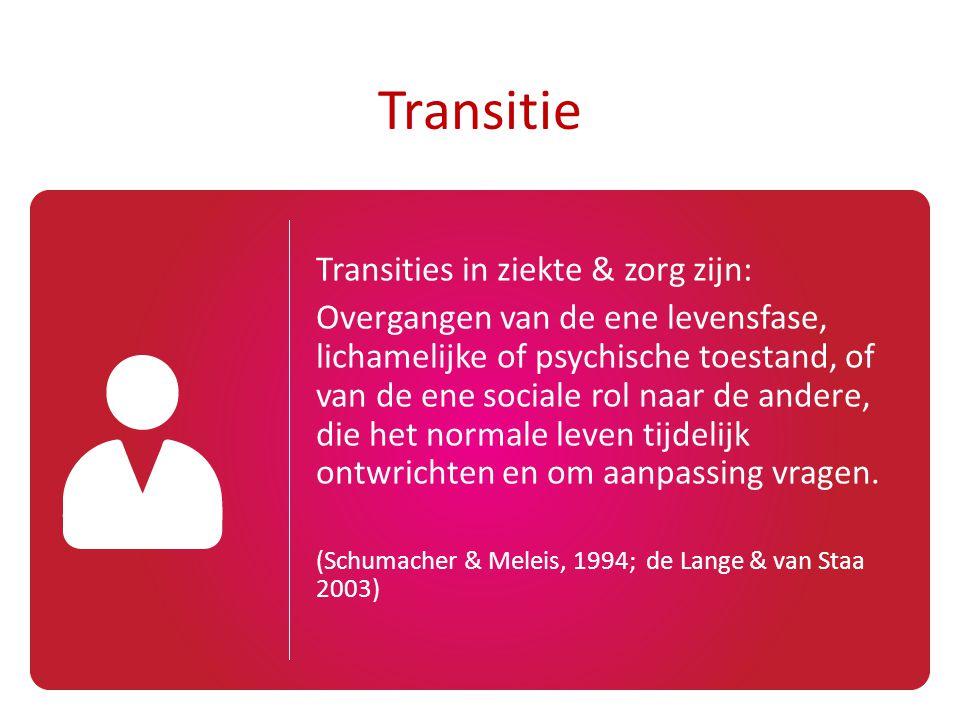 Transitie Transities in ziekte & zorg zijn: