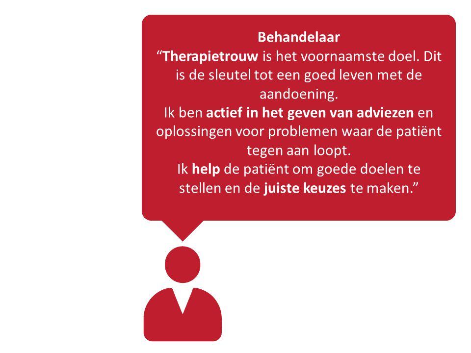 Behandelaar Therapietrouw is het voornaamste doel