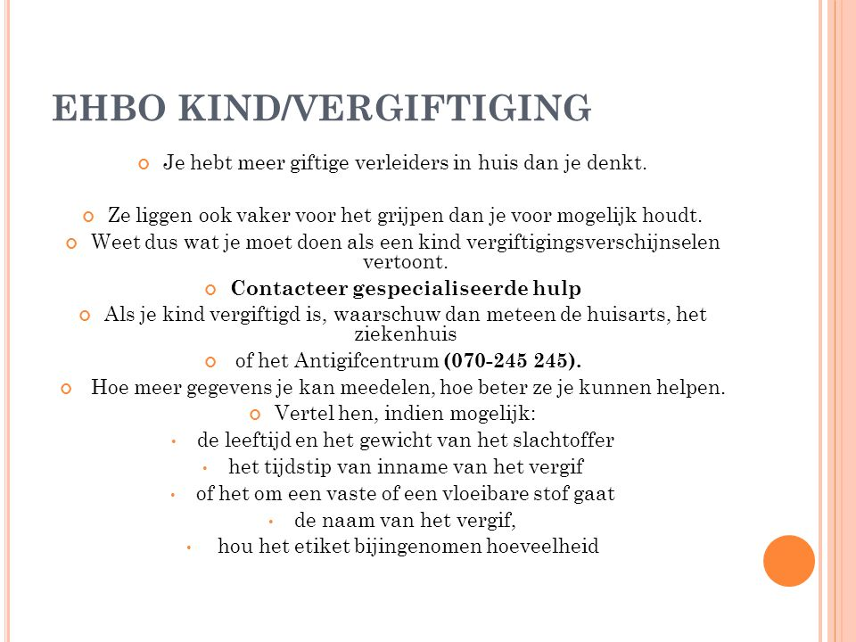 EHBO KIND/VERGIFTIGING