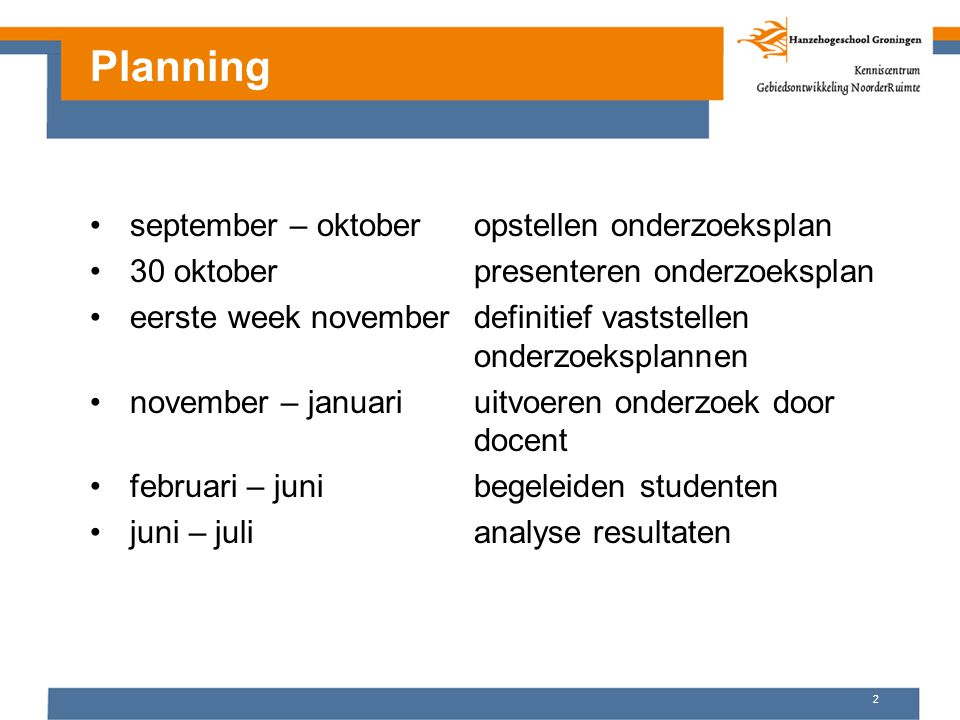 Planning september – oktober opstellen onderzoeksplan