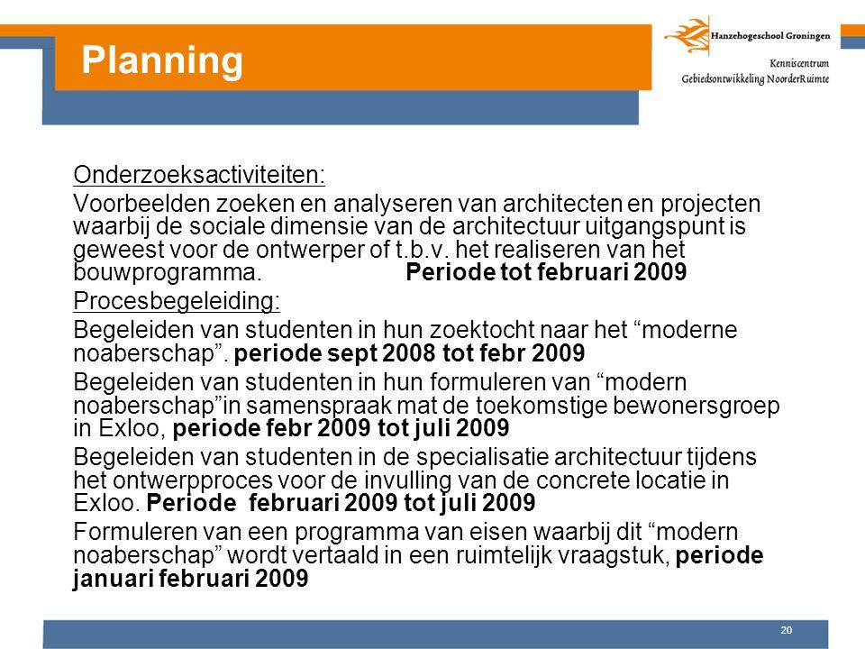 Planning Onderzoeksactiviteiten: