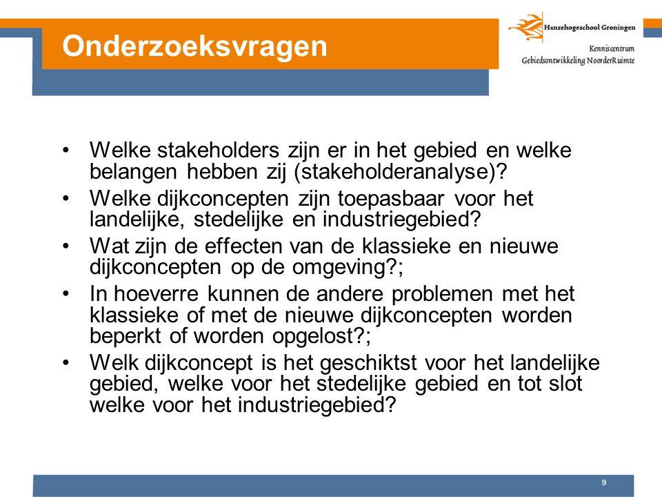 Onderzoeksvragen Welke stakeholders zijn er in het gebied en welke belangen hebben zij (stakeholderanalyse)