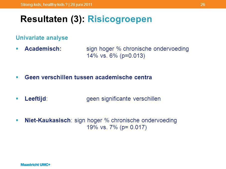 Resultaten (3): Risicogroepen