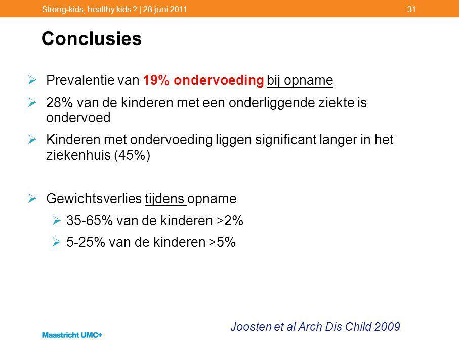 Conclusies Prevalentie van 19% ondervoeding bij opname