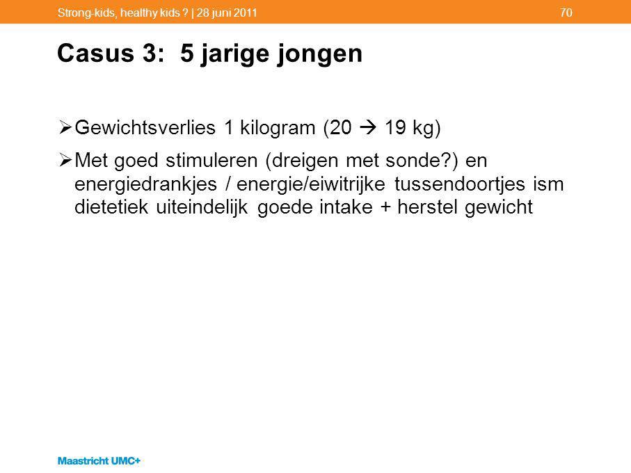 Casus 3: 5 jarige jongen Gewichtsverlies 1 kilogram (20  19 kg)