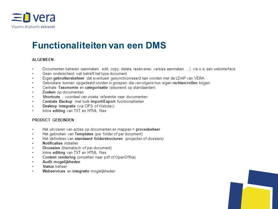 Functionaliteiten van een DMS
