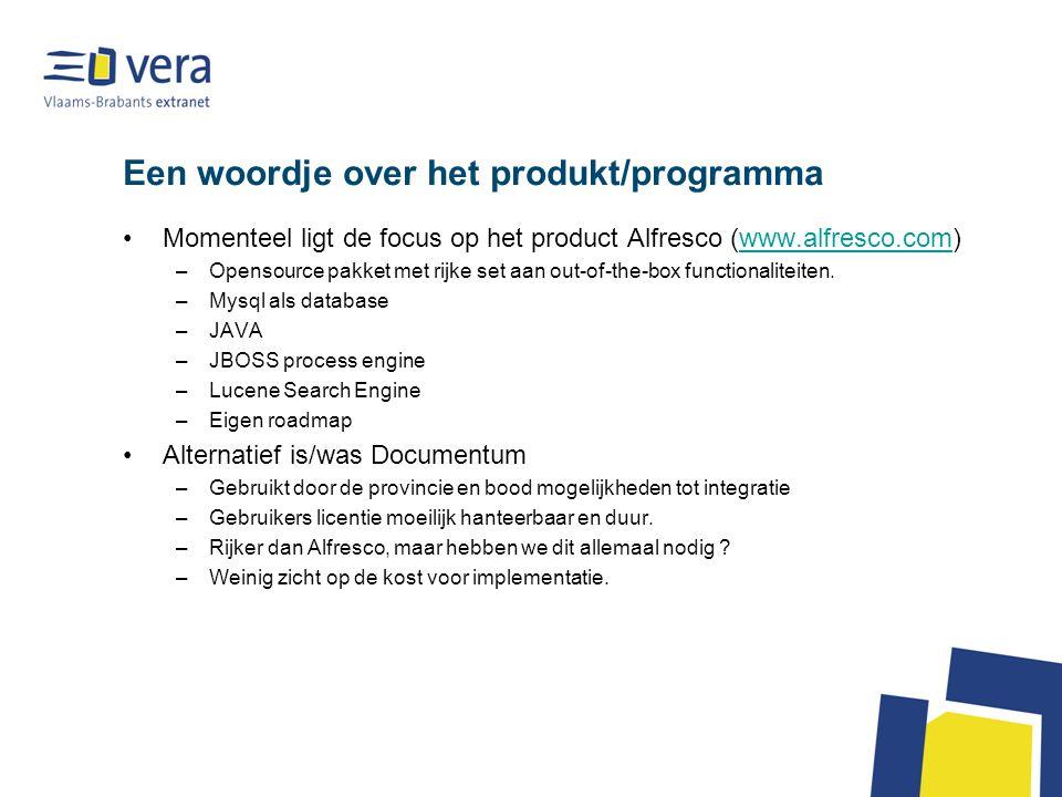 Een woordje over het produkt/programma