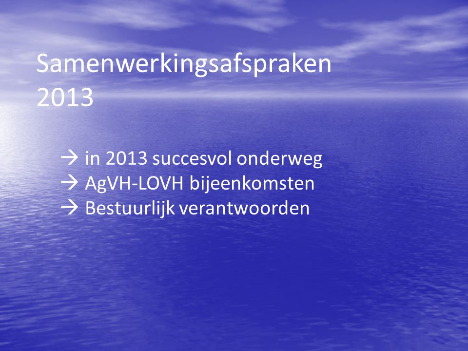 Samenwerkingsafspraken 2013
