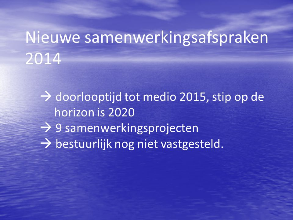 Nieuwe samenwerkingsafspraken 2014