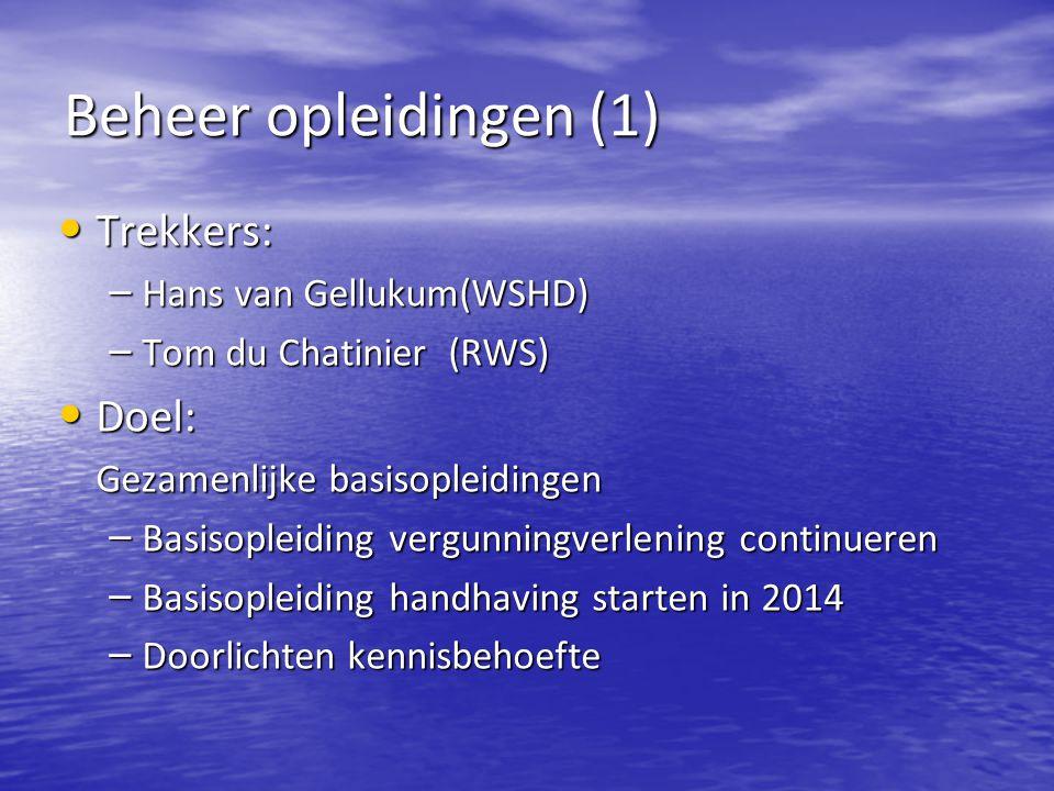 Beheer opleidingen (1) Trekkers: Doel: Hans van Gellukum(WSHD)