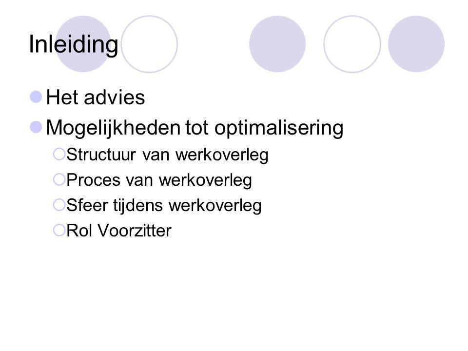 Inleiding Het advies Mogelijkheden tot optimalisering