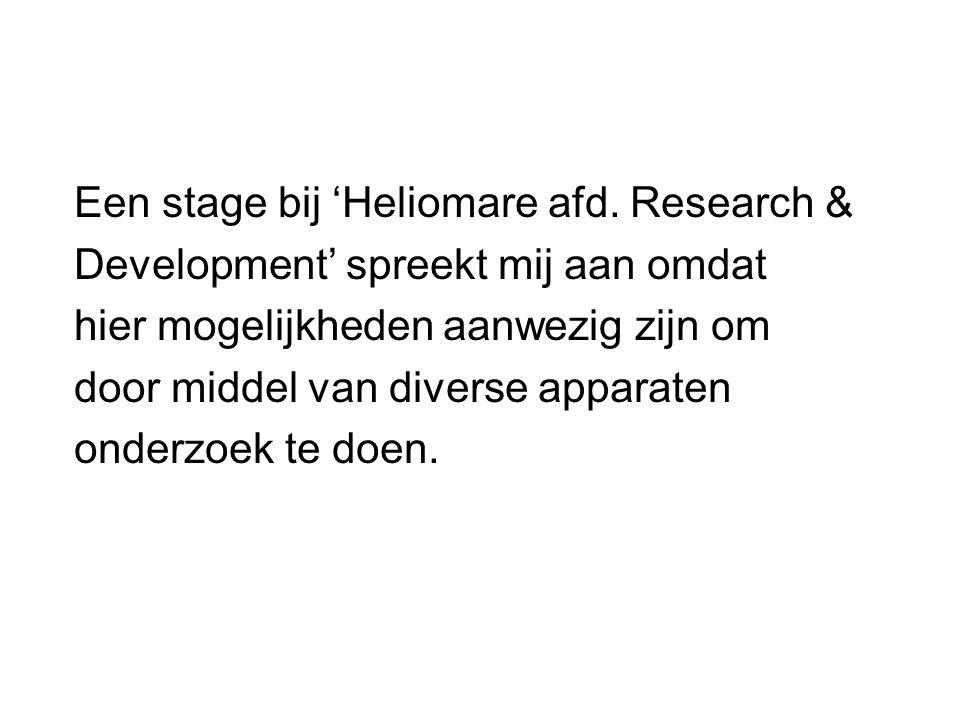 Een stage bij 'Heliomare afd. Research &