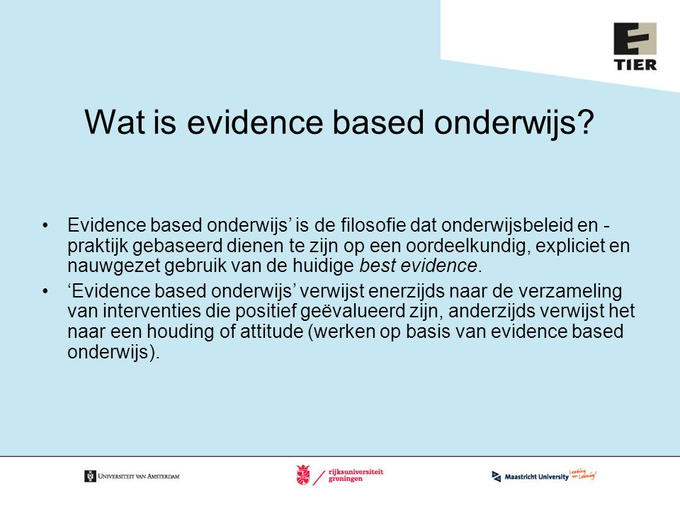 Wat is evidence based onderwijs