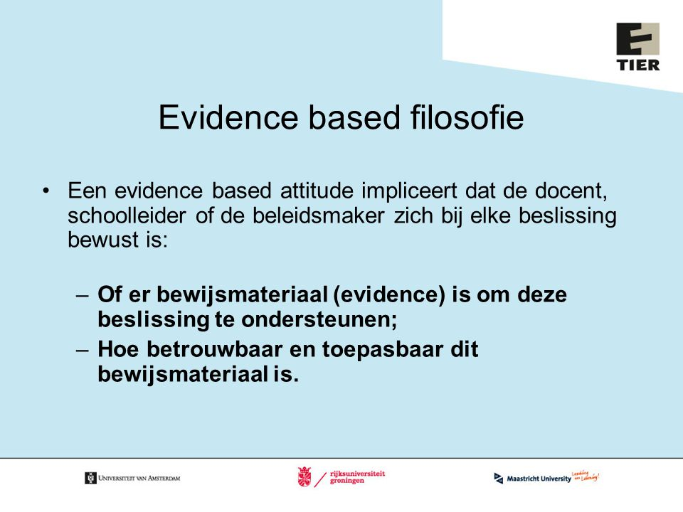 Evidence based filosofie