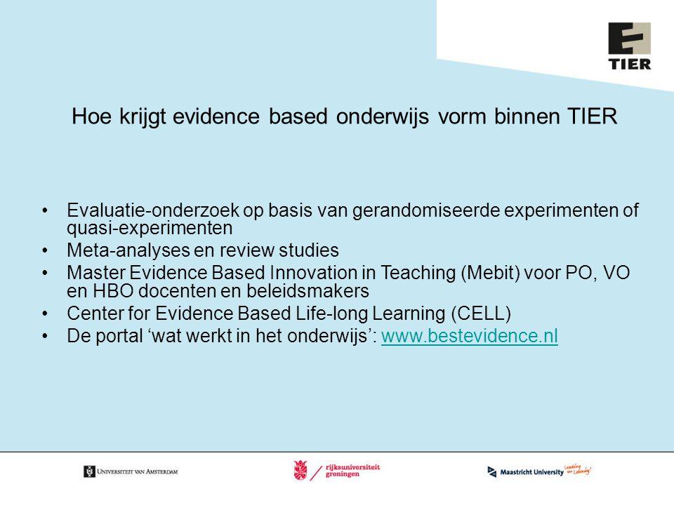 Hoe krijgt evidence based onderwijs vorm binnen TIER
