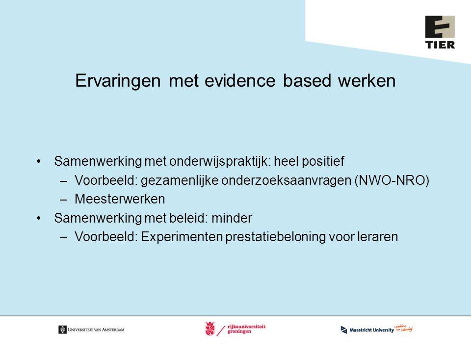 Ervaringen met evidence based werken