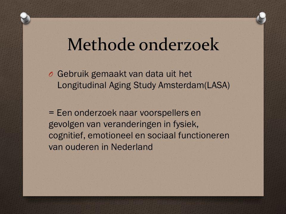 Methode onderzoek Gebruik gemaakt van data uit het Longitudinal Aging Study Amsterdam(LASA)