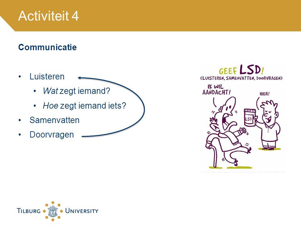 Activiteit 4 Communicatie Luisteren Wat zegt iemand