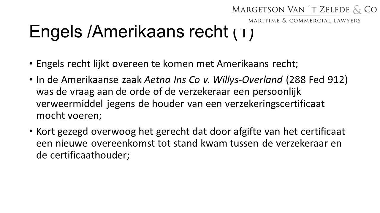 Engels /Amerikaans recht (1)