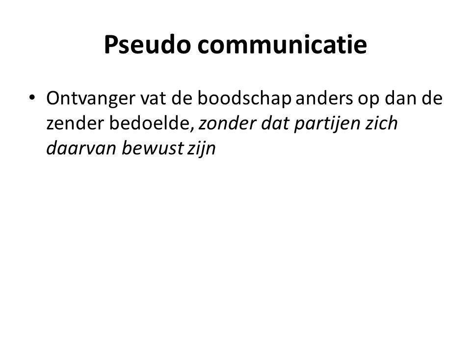 Pseudo communicatie Ontvanger vat de boodschap anders op dan de zender bedoelde, zonder dat partijen zich daarvan bewust zijn.