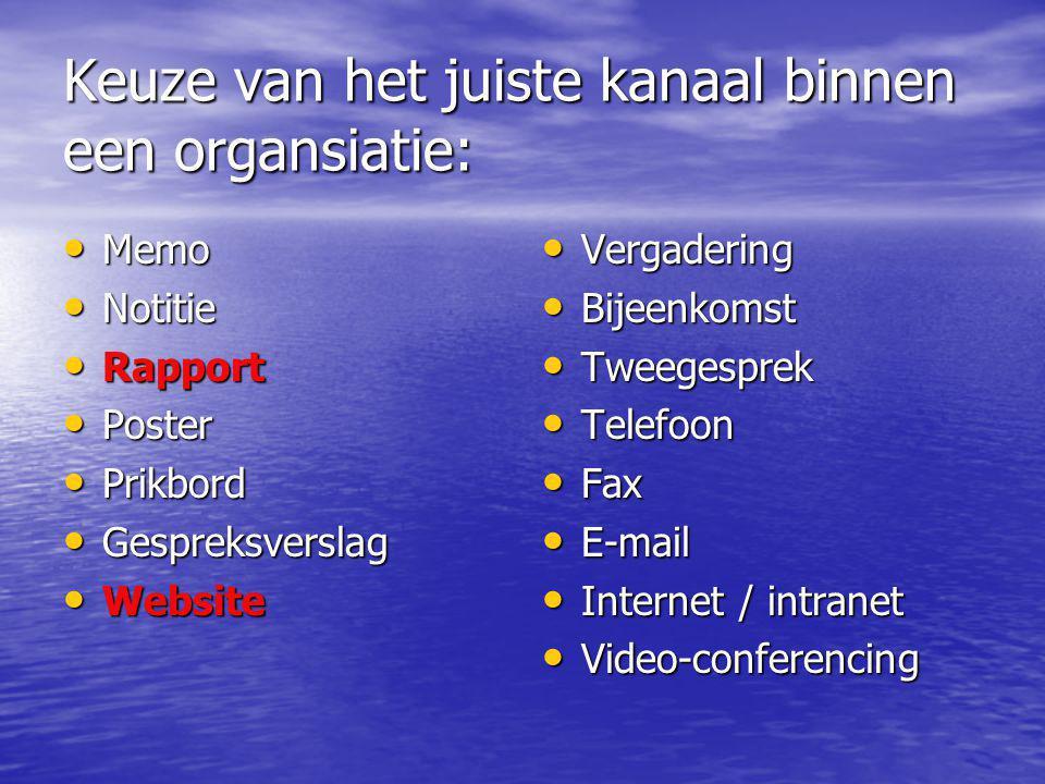 Keuze van het juiste kanaal binnen een organsiatie: