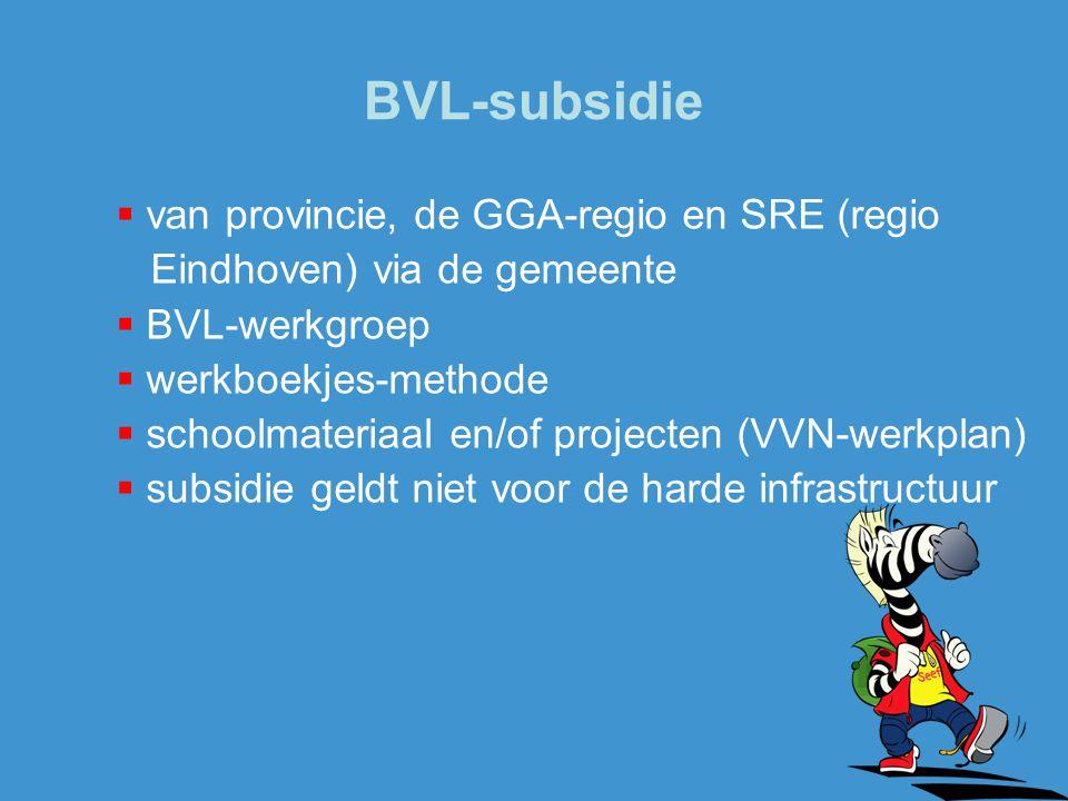 BVL-subsidie van provincie, de GGA-regio en SRE (regio