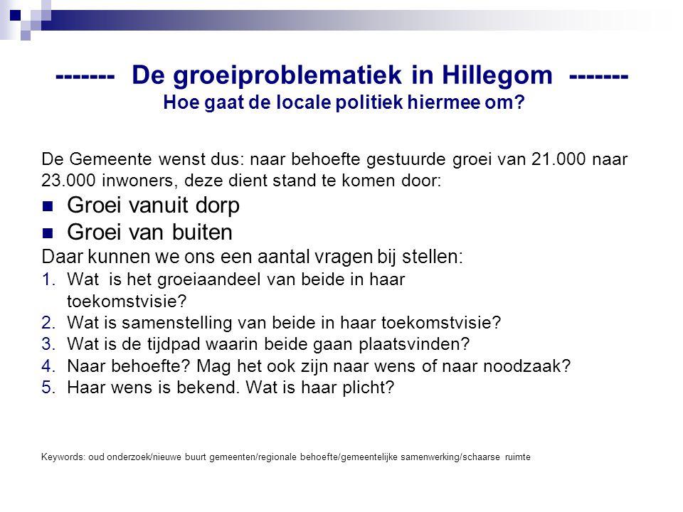 ------- De groeiproblematiek in Hillegom ------- Hoe gaat de locale politiek hiermee om