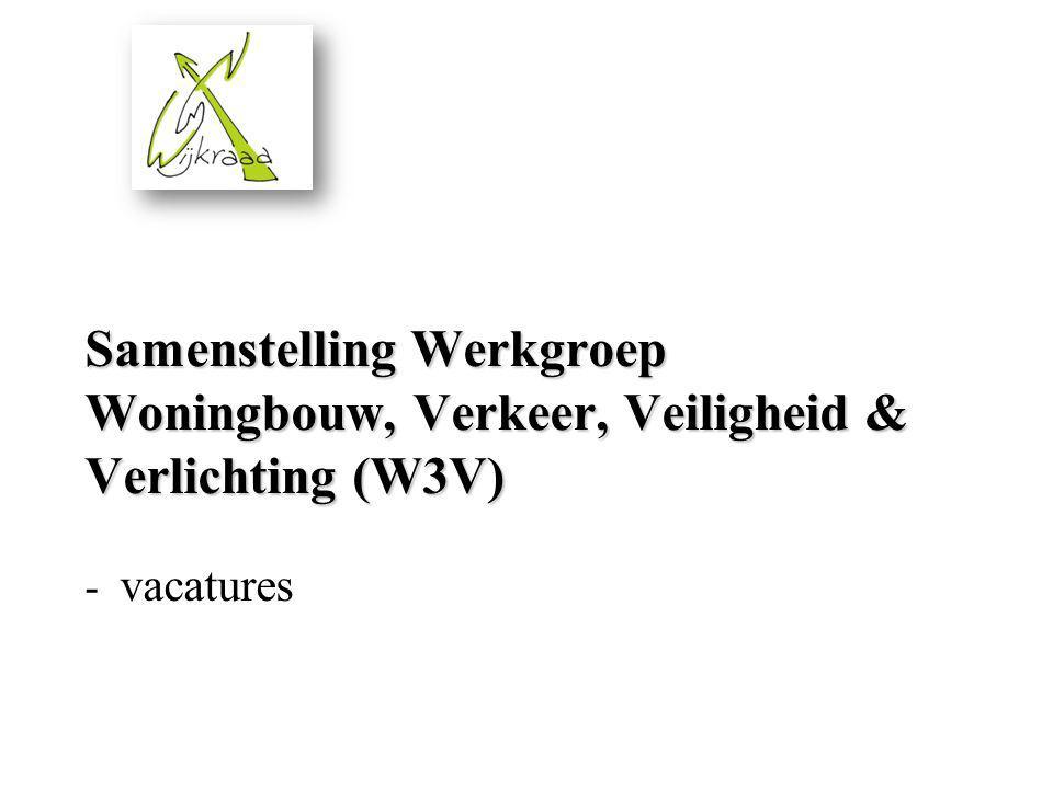 Samenstelling Werkgroep Woningbouw, Verkeer, Veiligheid & Verlichting (W3V) - vacatures
