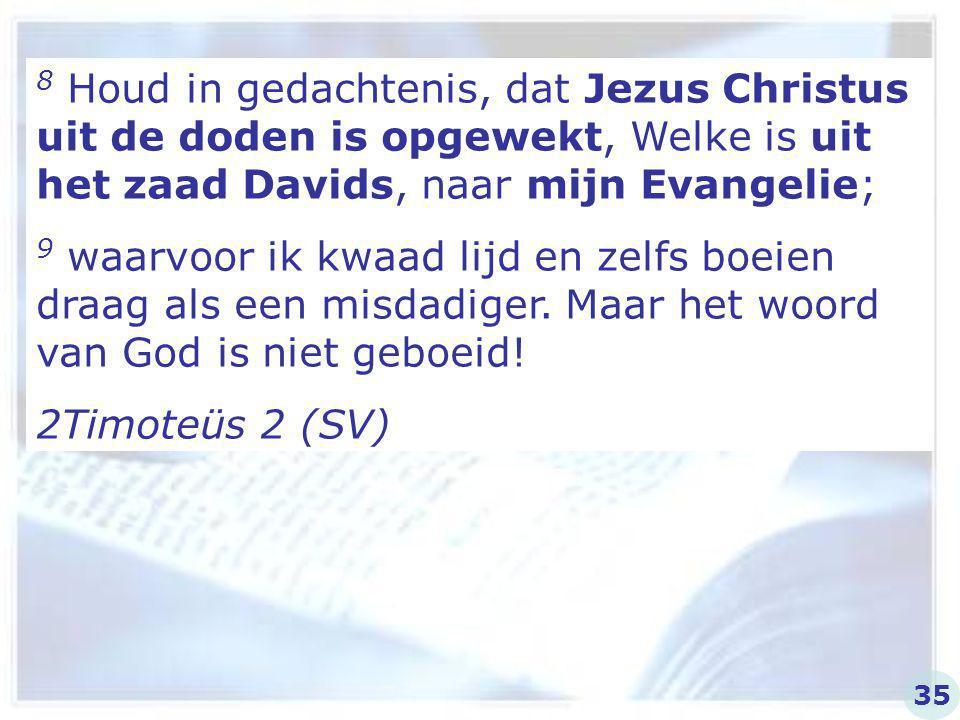 8 Houd in gedachtenis, dat Jezus Christus uit de doden is opgewekt, Welke is uit het zaad Davids, naar mijn Evangelie;